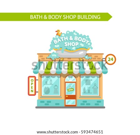 Vector flat style illustration of bath   body shop building  Signboard with  big wash tubShop Vitrine Stock Images  Royalty Free Images   Vectors  . Bath And Body Shop Toronto. Home Design Ideas
