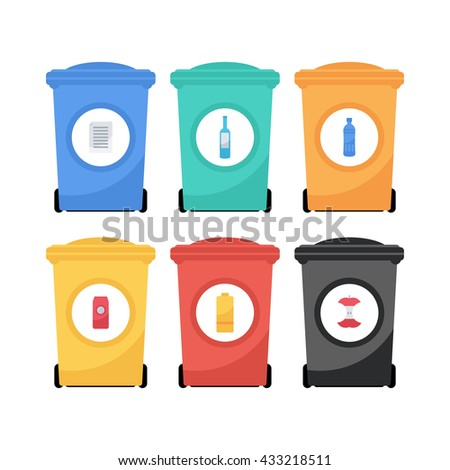 Vector flat style illustration of colorful garbage containers. Recycle garbage bins for waste separation.  Garbage sorting: glass, food,  metal, plastic, paper.
