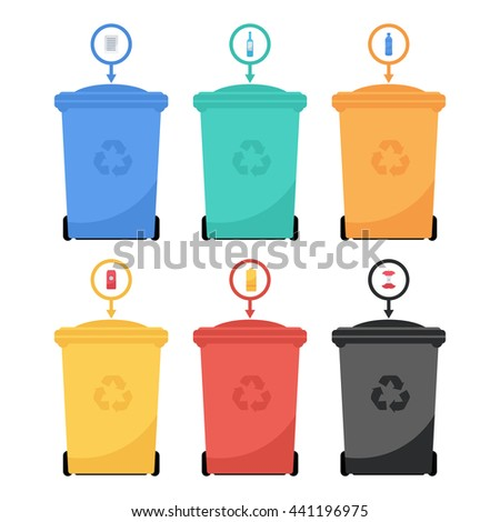 Vector flat style illustration of colorful garbage containers. Recycle garbage bins for waste separation.  Garbage sorting: glass, food,  metal, plastic, paper.  - stock vector