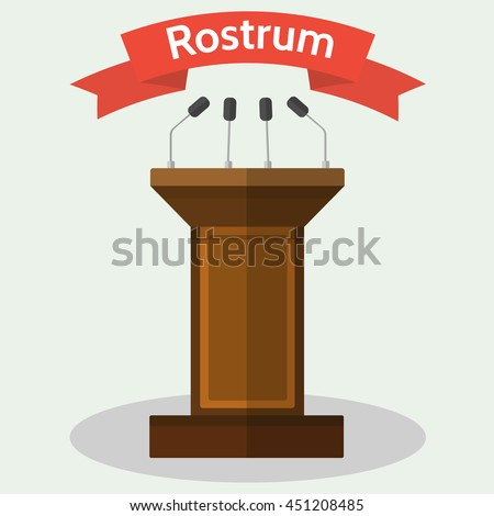 Vector flat style Illustration of wooden podium tribune rostrum with with microphones. - stock vector
