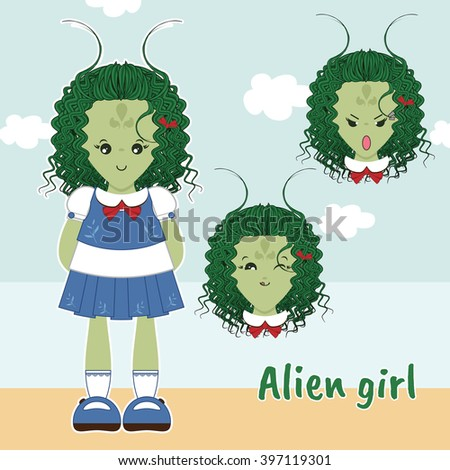 Vector flat style. Kawaii alien little girl with sweet dress, curly hair. Set with different faces (cute, sly, angry emotions). Cartoon element for festive, childish design. Dolls maker - stock vector