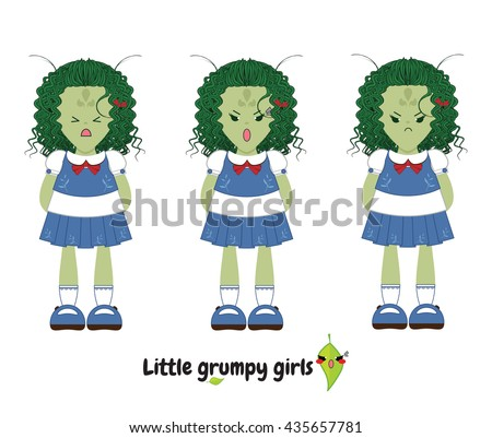 Vector flat style. Kawaii alien little girl with sweet dress, curly hair. Set with grumpy faces (angry, nasty, harmful, moody, grim emotions). Cartoon element for design. Isolated on white background - stock vector
