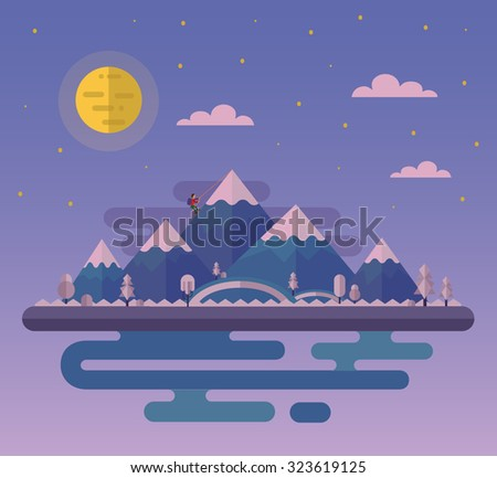 Vector flat style nature landscape illustration with climber and hills, mountains, big moon and sea.
