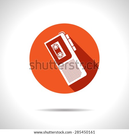 Vector flat style retro dictaphone icon. Eps10 - stock vector