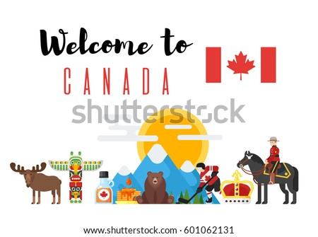 Vector flat style set welcome canada stock vector 599450819 vector flat style set of canadian national cultural symbols welcome to canada template for banner pronofoot35fo Image collections