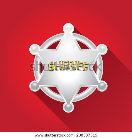 vector flat style silver sheriff or police star badge on red background. vector six-pointed star - stock vector
