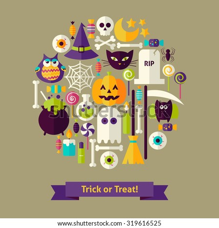 Vector Flat Style Trick or Treat Halloween Objects Concept. Flat Design Vector Illustration. Collection of Halloween Holiday Colorful Objects. Set of Scary Halloween Party Items.  - stock vector