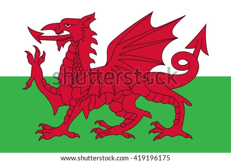 Vector flat style Wales state flag, great britain island. Official design of Cymru flag. Symbol with two vertical stripes and red dragon emblem. Independence day, holiday, web button template - stock vector
