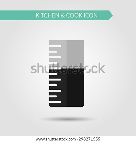 Vector flat stylish icon of kitchen and cooking. Kitchen utensils. Measuring cup. - stock vector