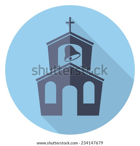 vector flat symbol or icon of church building - stock vector