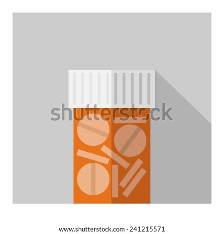 Vector flat tablet bottle. Flat health elements. Eps10 - stock vector
