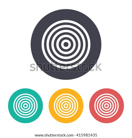 Vector flat target icon with set of 3 colors  - stock vector