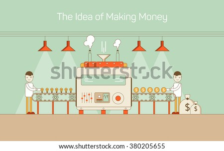 Vector flat thin line illustration of conveyor with machine (mechanism) converting ideas into money. Highlighted with lamps and making vapor. Concept of cash, currency, adult income, financial earning - stock vector