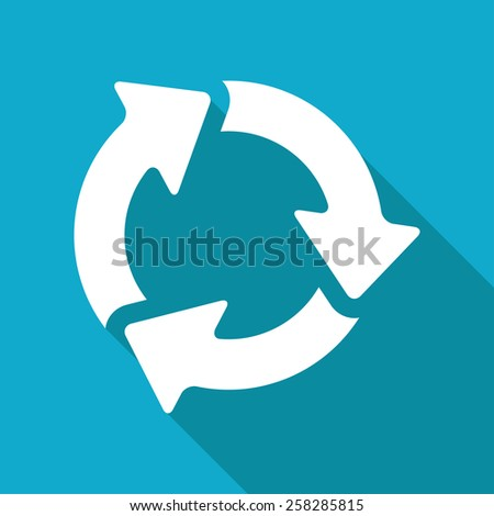 Vector flat three arrows icon isolated on blue background. Eps10