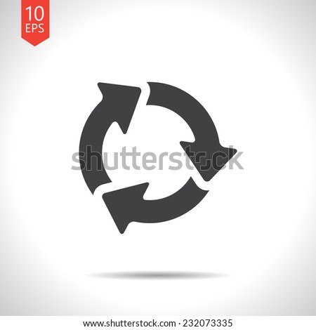 Vector flat three arrows icon isolated on white. Eps10