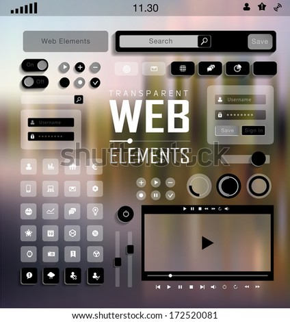 Vector flat transparent Web, mobile Elements, icons. Buttons and Labels, blur background - stock vector