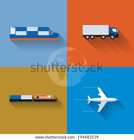 Vector flat transportation concept illustration. Icon set. - stock vector