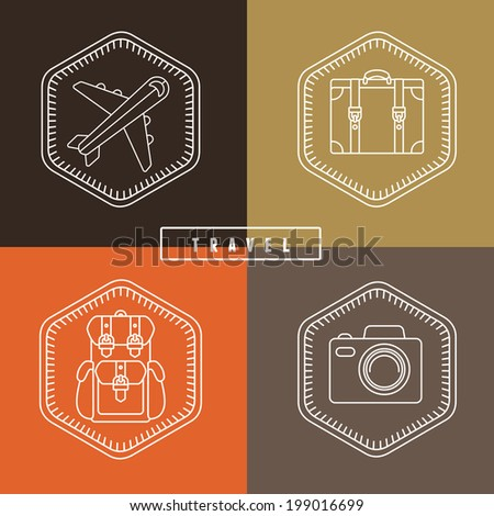 Vector flat travel badges and emblems in outline style - logo design template - stock vector