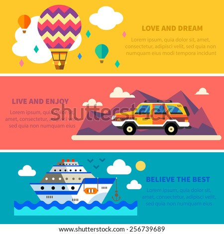 Vector flat traveling set Travel by land, sea and air. Balloon, Jeep , Ship. Landscapes with mountains and sea. World of discovery. Vector flat  illustrations and background - stock vector