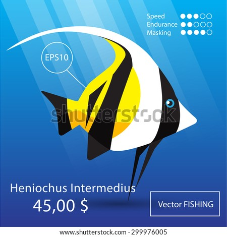 Vector flat tropical reef fish icon. Eps10 - stock vector