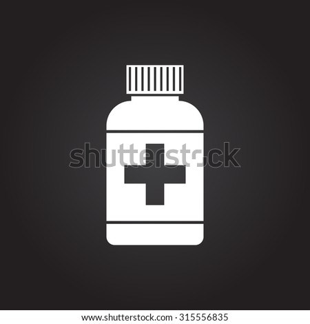 Vector flat white tablet bottle on dark background . Health icon  - stock vector