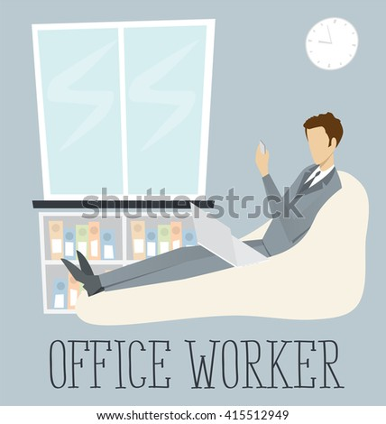 Vector flat with digital office workplace. Businessman working on laptop