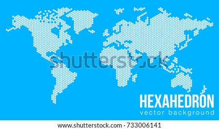 Vector flat world map atlantic ocean vectores en stock 733006141 vector flat world map with atlantic ocean in the design of points of hexagons planet gumiabroncs Gallery