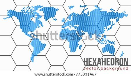 Vector flat world map atlantic ocean stock vector 775331467 vector flat world map with atlantic ocean in the design of points of hexagons planet gumiabroncs Gallery