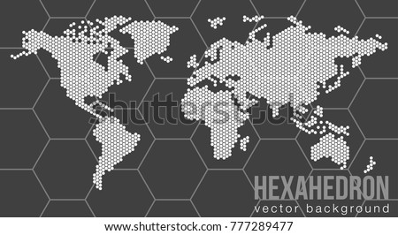 Vector flat world map atlantic ocean vectores en stock 777289477 vector flat world map with atlantic ocean in the design of points of hexagons planet gumiabroncs Gallery