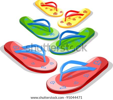 vector flip flops - stock vector