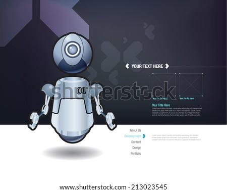 Vector floating robot design template - stock vector