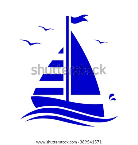 vector floating sailboat isolated on white background