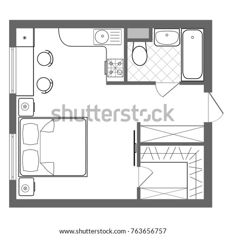 Vector Floor Plan Studio Apartment. Professional House Placement Furniture.  With Bedroom, Kitchen,