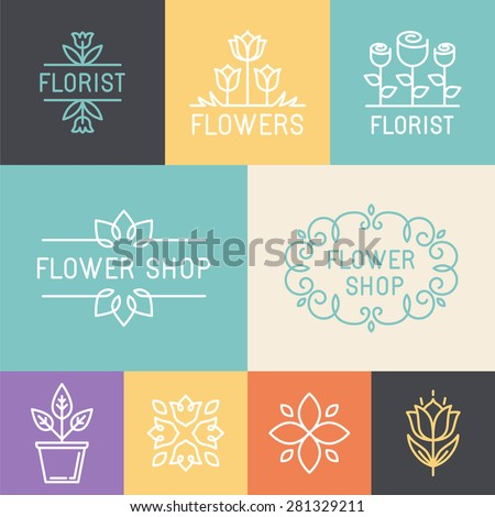 Vector floral and gardening logos and signs in trendy linear style - emblems for flower shop - stock vector