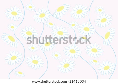 vector floral background  camomile flowers - stock vector