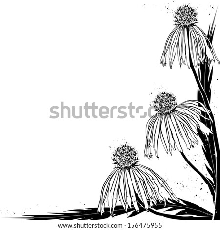 vector floral background in black color for corner design