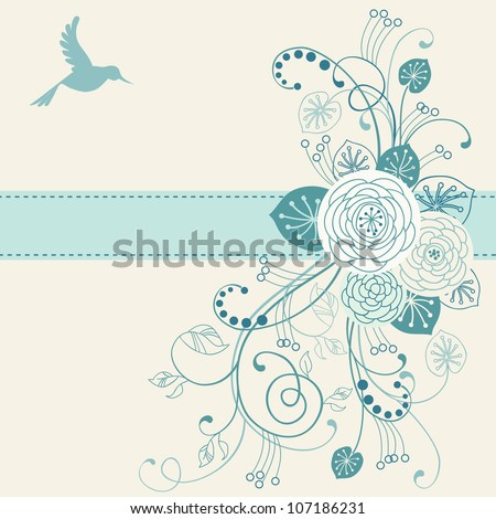 Vector floral background with flower, leaves, bird, branches and ribbon. Invitation and greeting card with bunch of roses. Romantic abstract blue illustration with text box for wedding and holiday. - stock vector
