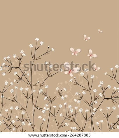 Vector floral background with flying colorful butterflies  - stock vector