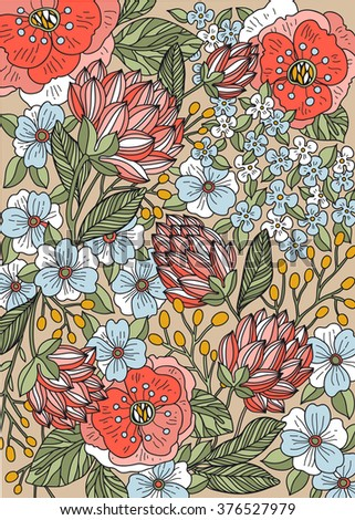 vector floral background with hand drawn colorful blooms