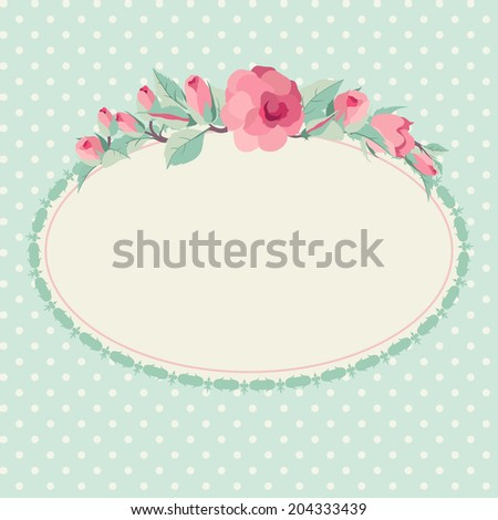 Vector floral background with oval frame - stock vector