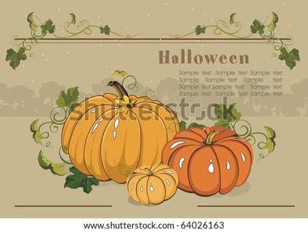 Vector Floral background with Place for your text. Abstract Classical illustration of orange pumpkins. - stock vector
