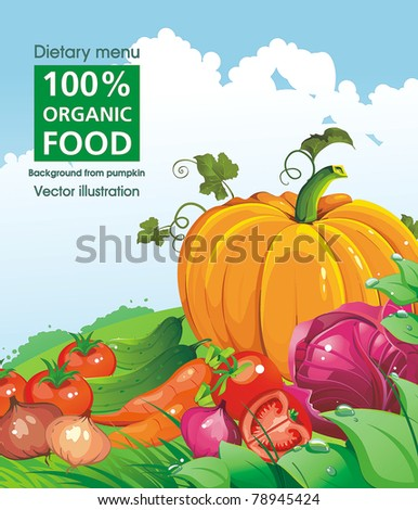 Vector Floral background with Place for your text. Abstract Classical Vegetables card with pumpkins.