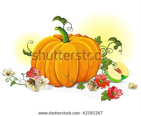 Vector Floral background with pumpkin and flowers. Abstract Classical autumn card.