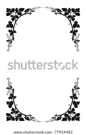 vector floral border black and white, easy to recolored - stock vector