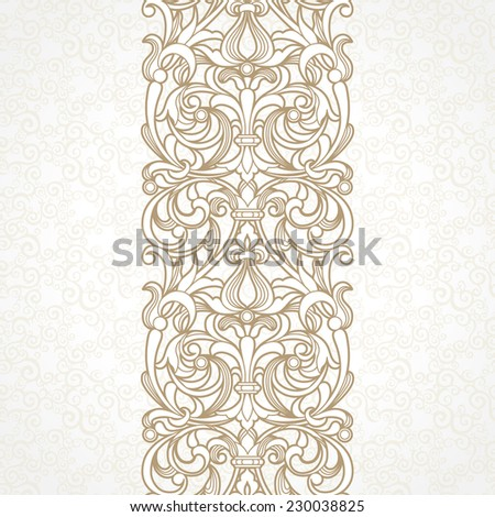 Vector floral border in Victorian style. Ornate element for design and place for text. Ornamental vintage pattern for wedding invitations and greeting cards. Traditional decor on light background. - stock vector