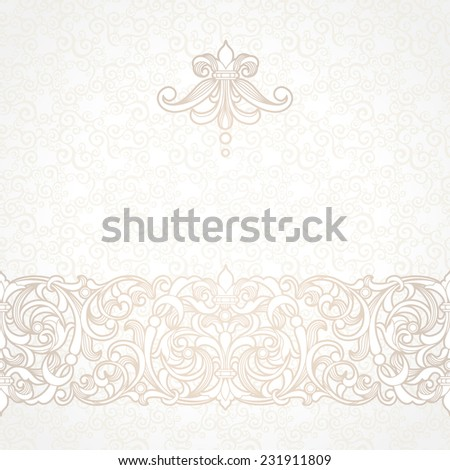 Vector floral border in Victorian style. Ornate element for design and place for text. Ornamental vintage pattern for wedding invitations, greeting cards. Traditional beige decor on light background. - stock vector