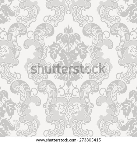 Vector floral damask pattern for wedding invitation - stock vector