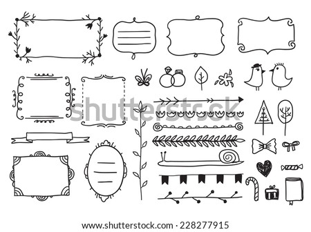 vector floral decor set of hand drawn doodle frames, dividers, borders, elements. Isolated - stock vector