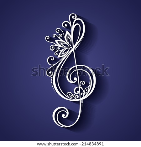 Vector Floral Decorative Treble Clef. Patterned Musical Sign - stock vector