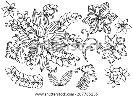 Vector floral doodle - stock vector
